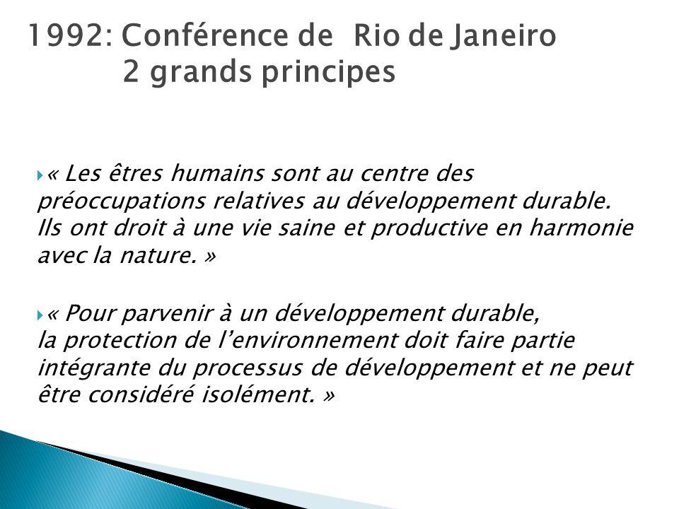 1992: Conférence de Rio de Janeiro 2 grands principes
