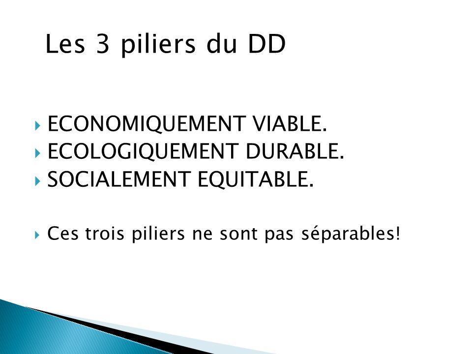 Les 3 piliers du DD ECONOMIQUEMENT VIABLE. ECOLOGIQUEMENT DURABLE.