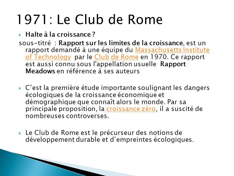 1971: Le Club de Rome Halte à la croissance