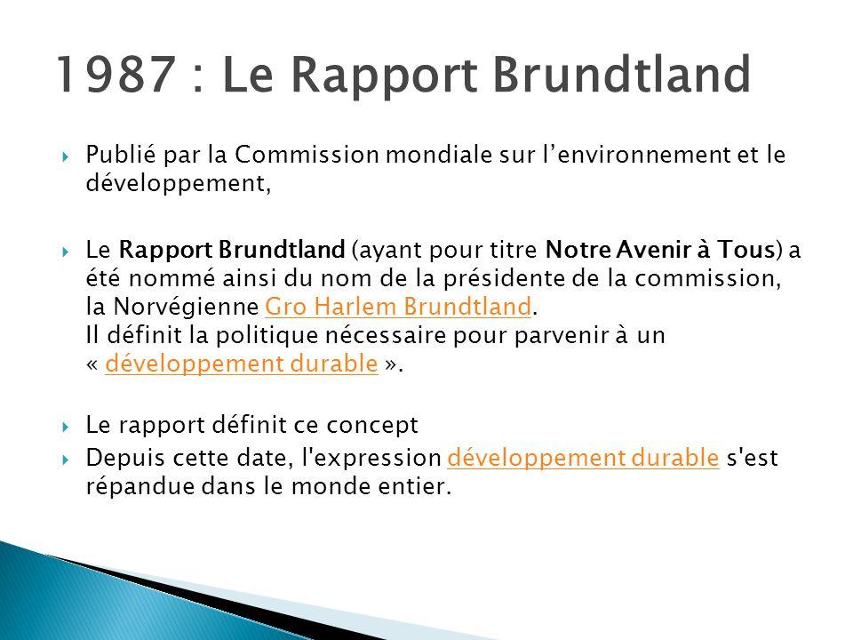 1987 : Le Rapport Brundtland