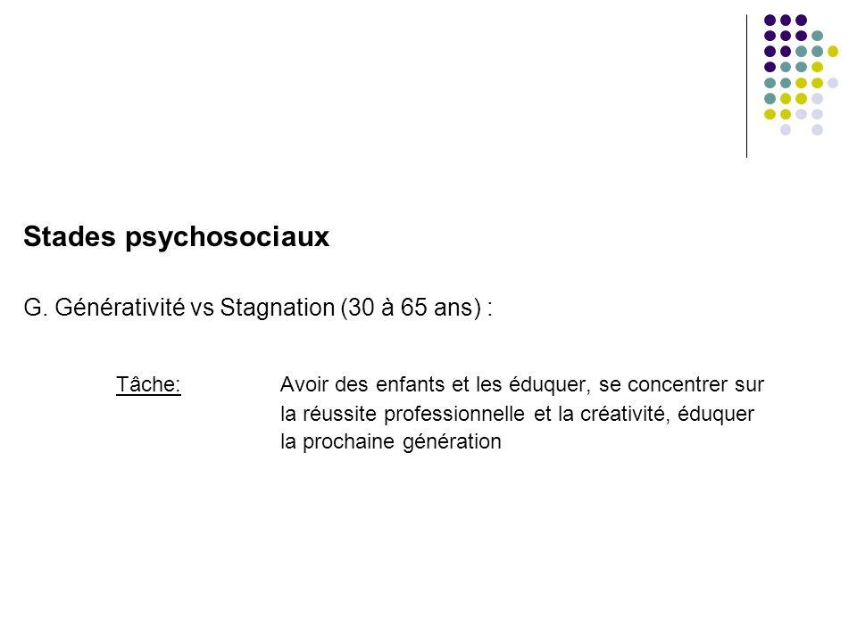 Stades psychosociaux G. Générativité vs Stagnation (30 à 65 ans) :
