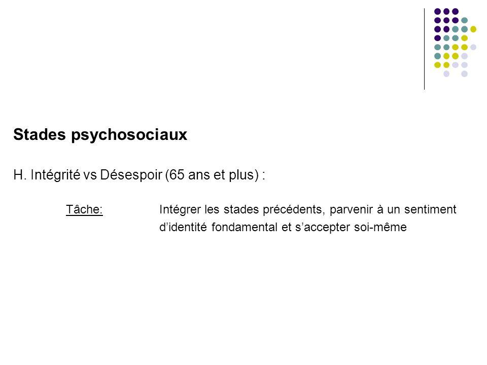 Stades psychosociaux H. Intégrité vs Désespoir (65 ans et plus) :