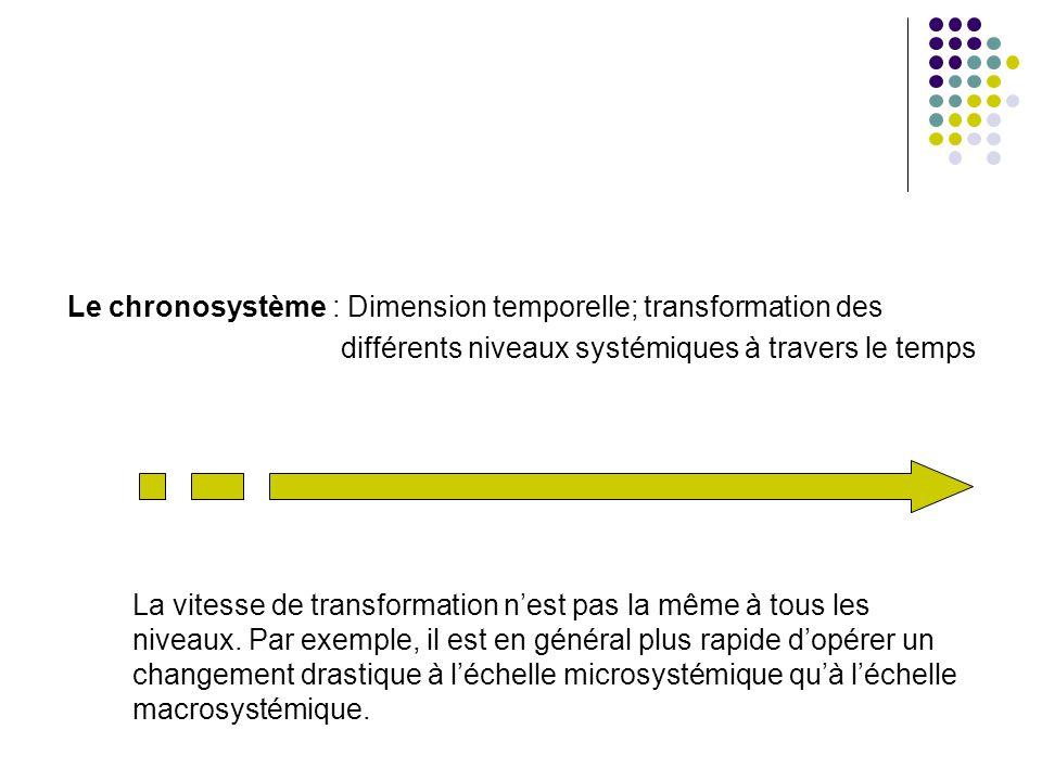 Le chronosystème : Dimension temporelle; transformation des