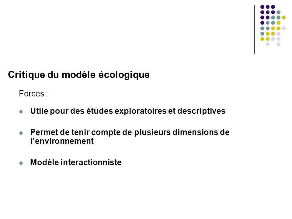 Critique du modèle écologique