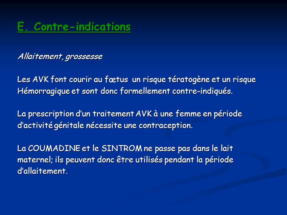E. Contre-indications