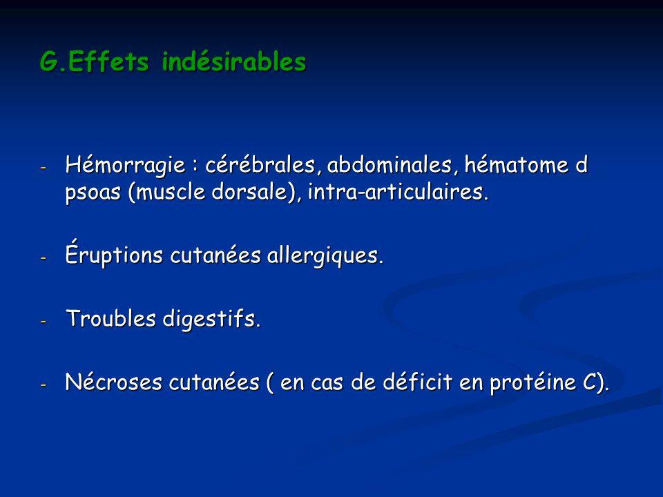 G.Effets indésirables Hémorragie : cérébrales, abdominales, hématome d psoas (muscle dorsale), intra-articulaires.