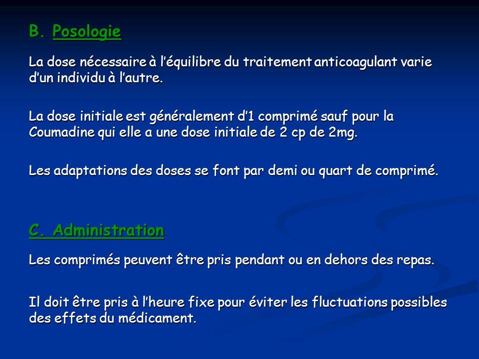 B. Posologie C. Administration