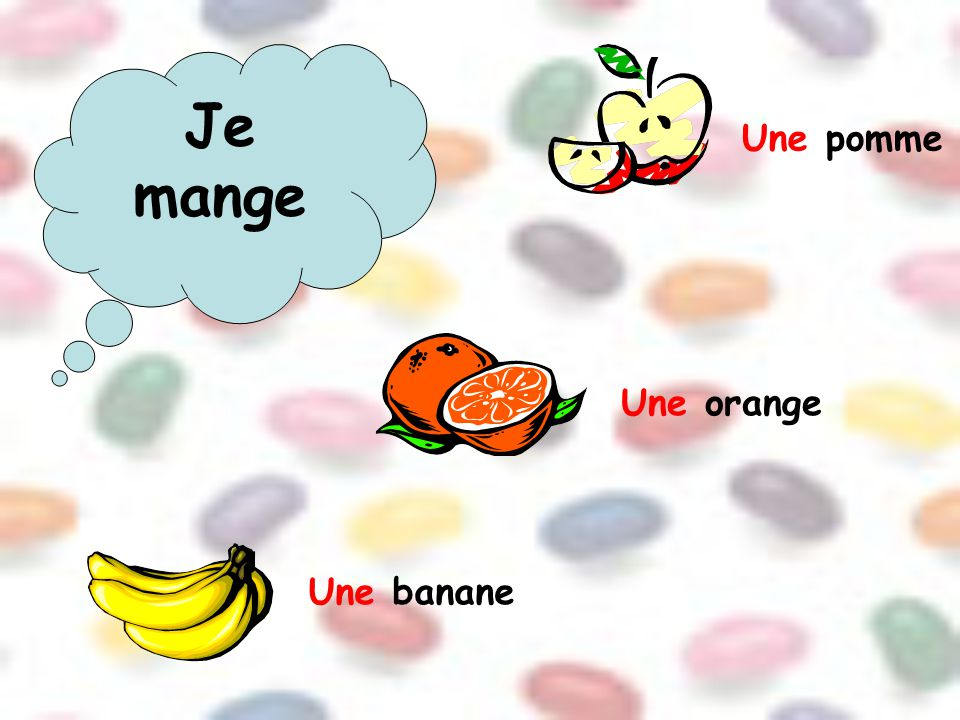 Je mange Une pomme Une orange Une banane