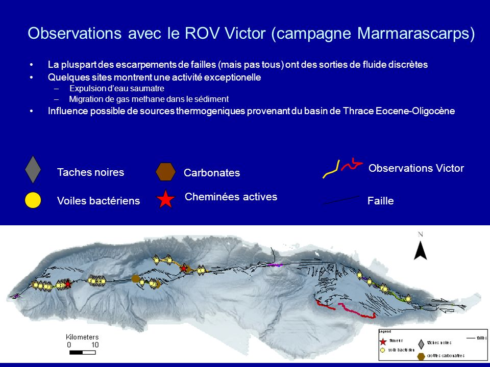 Observations avec le ROV Victor (campagne Marmarascarps)