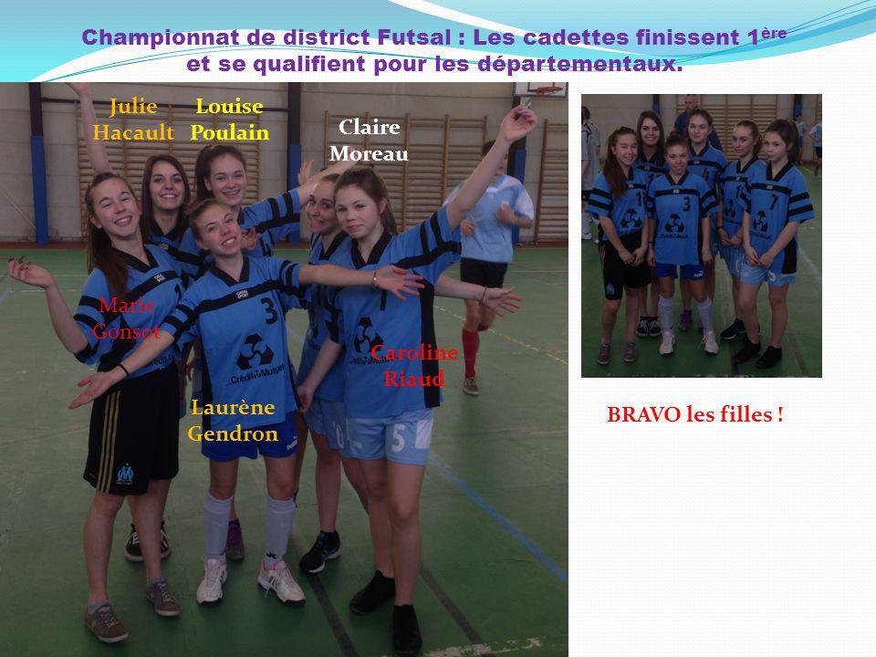 Championnat de district Futsal : Les cadettes finissent 1ère et se qualifient pour les départementaux.