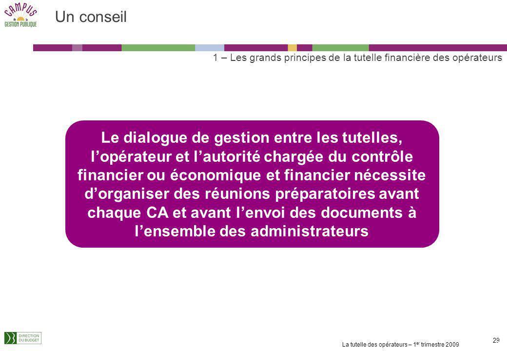 Un conseil 1 – Les grands principes de la tutelle financière des opérateurs.