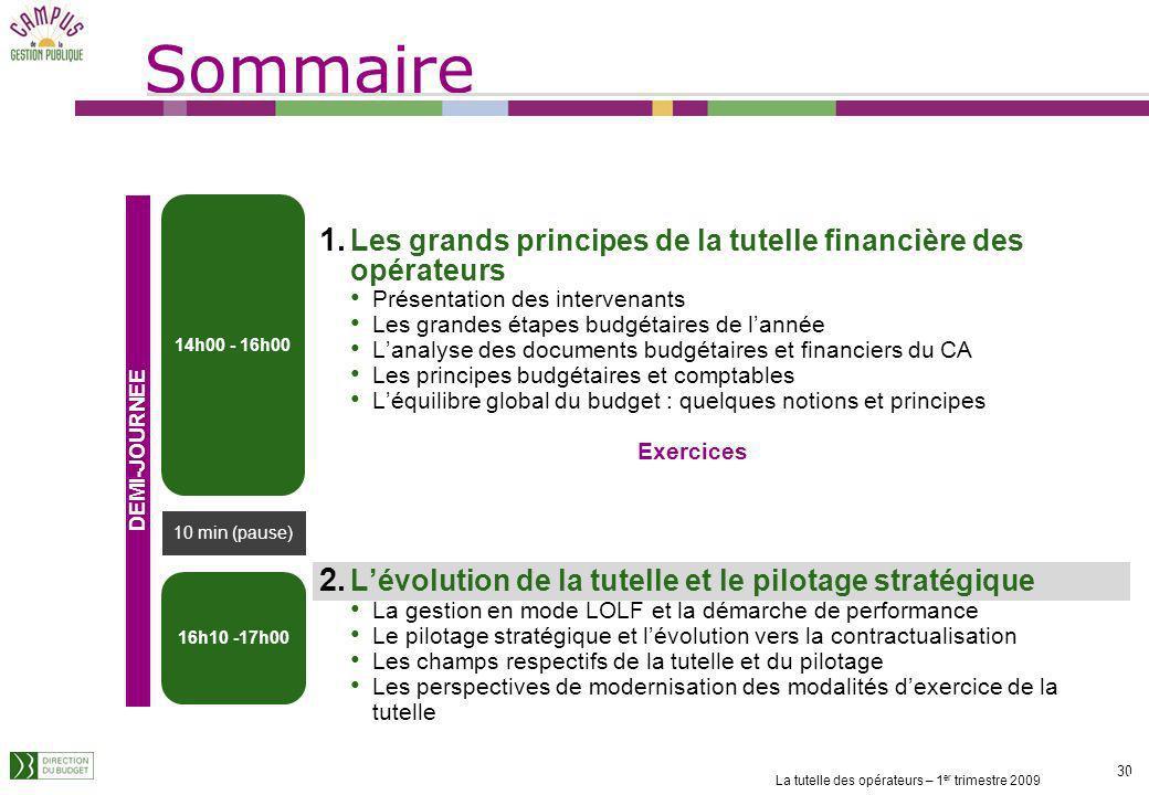 Sommaire Les grands principes de la tutelle financière des opérateurs