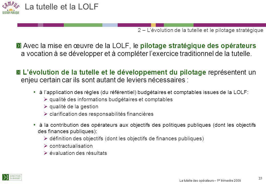La tutelle et la LOLF 2 – L'évolution de la tutelle et le pilotage stratégique.