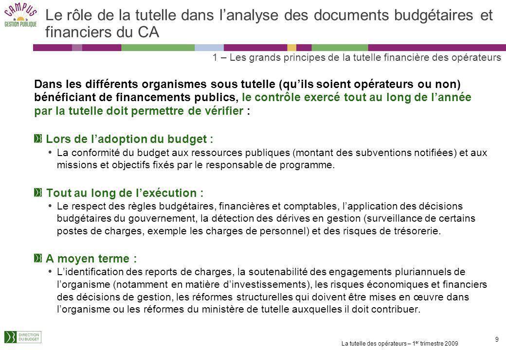 Le rôle de la tutelle dans l'analyse des documents budgétaires et financiers du CA