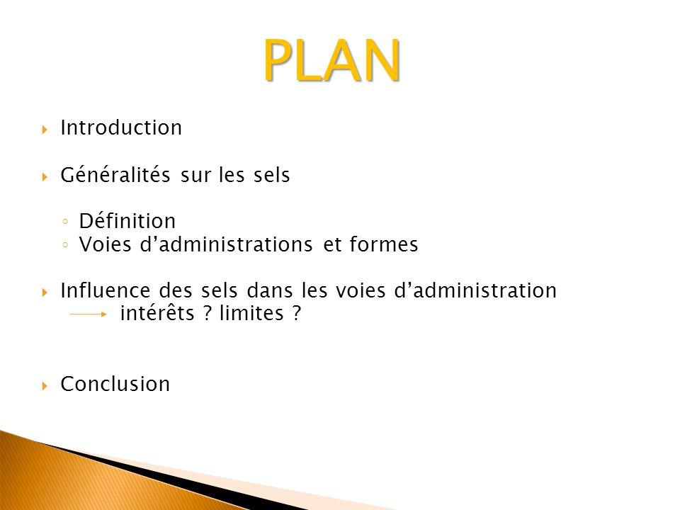 PLAN Introduction Généralités sur les sels Définition