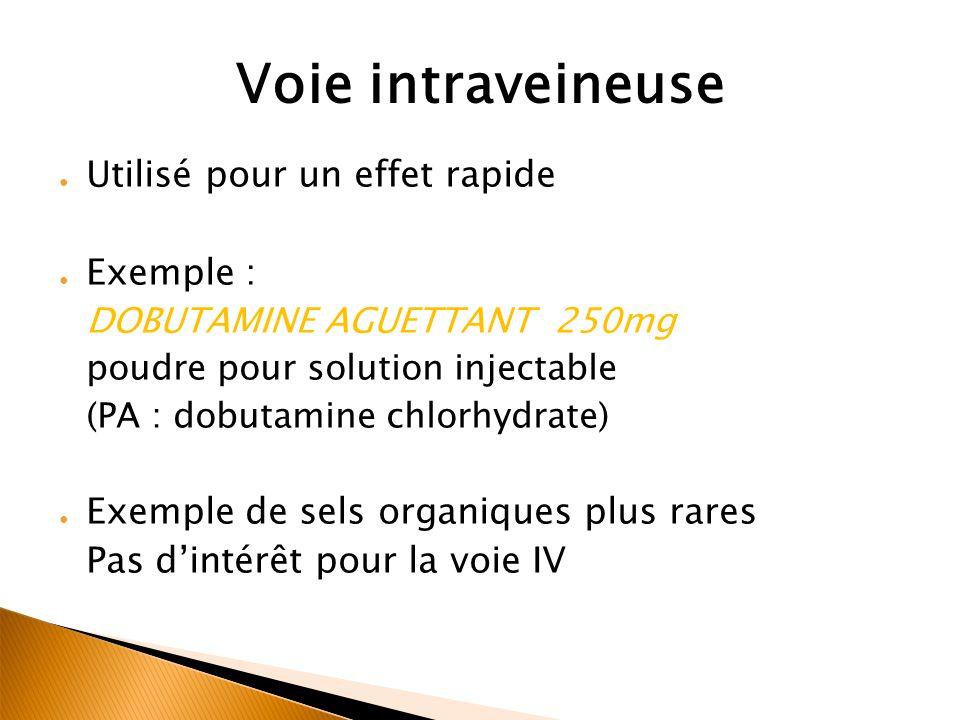 Voie intraveineuse Utilisé pour un effet rapide Exemple :