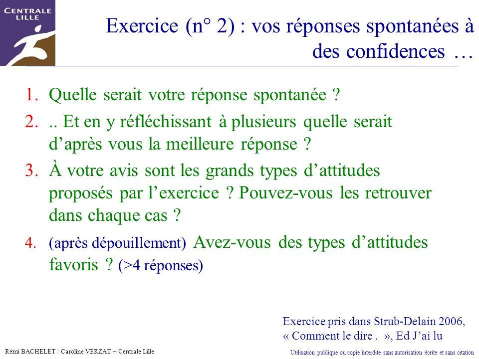Exercice (n° 2) : vos réponses spontanées à des confidences …