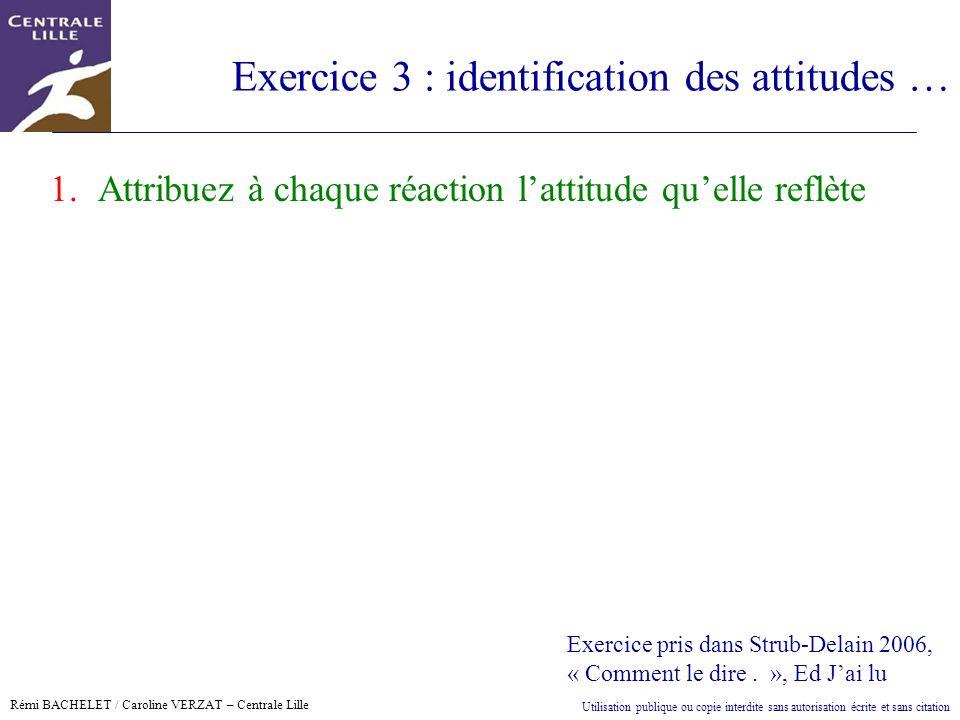 Exercice 3 : identification des attitudes …