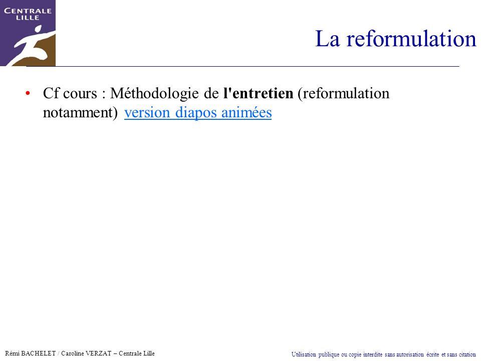 La reformulation Cf cours : Méthodologie de l entretien (reformulation notamment) version diapos animées.
