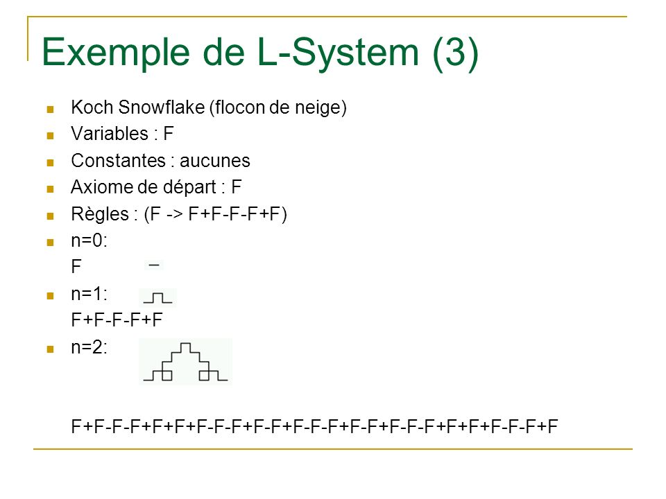 Exemple de L-System (3) Koch Snowflake (flocon de neige) Variables : F