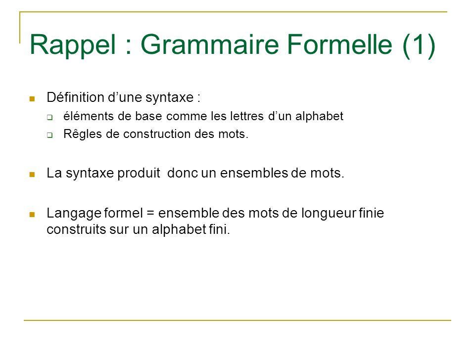 Rappel : Grammaire Formelle (1)