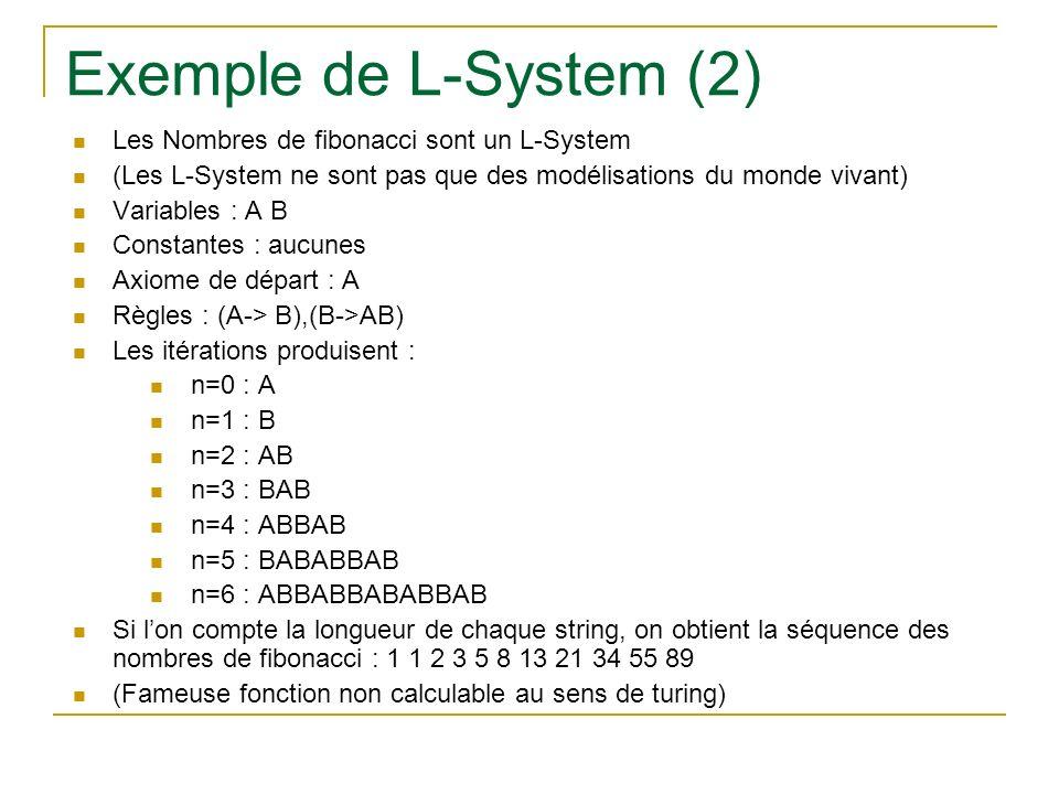 Exemple de L-System (2) Les Nombres de fibonacci sont un L-System