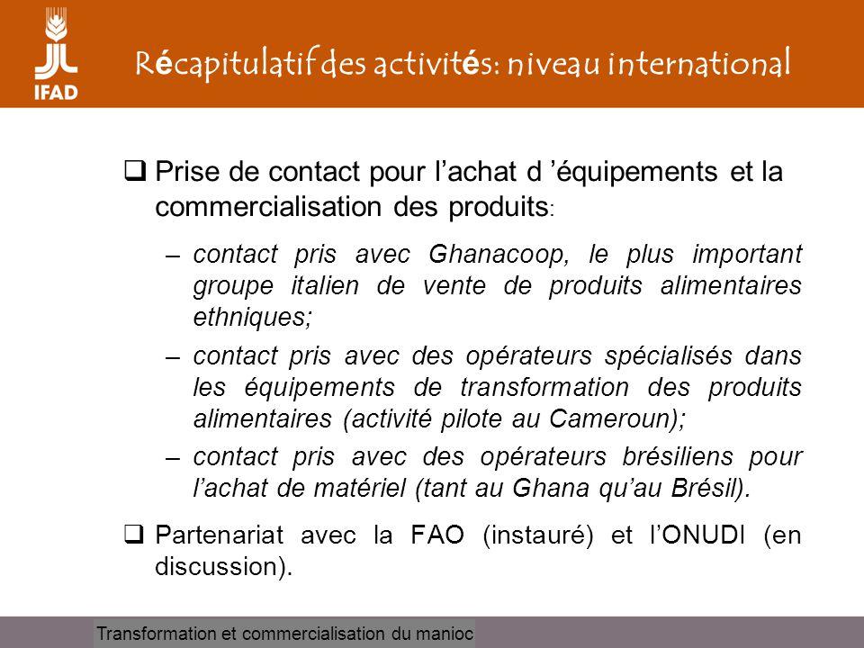 Récapitulatif des activités: niveau international