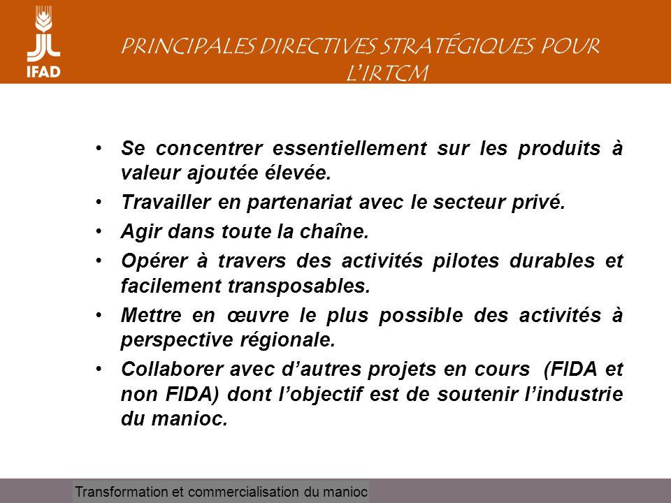 PRINCIPALES DIRECTIVES STRATÉGIQUES POUR L'IRTCM