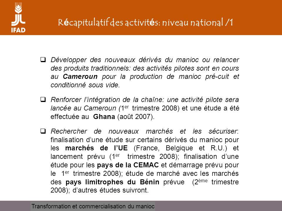 Récapitulatif des activités: niveau national /1