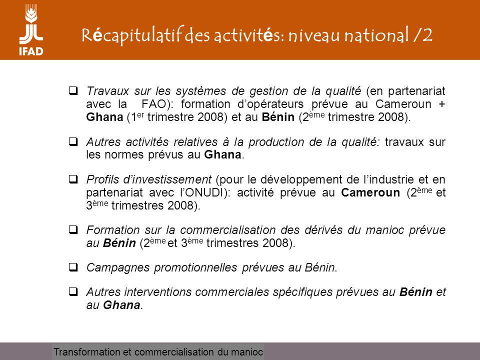 Récapitulatif des activités: niveau national /2