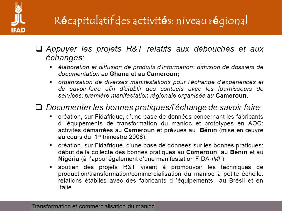 Récapitulatif des activités: niveau régional
