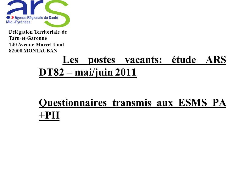 Les postes vacants: étude ARS DT82 – mai/juin 2011