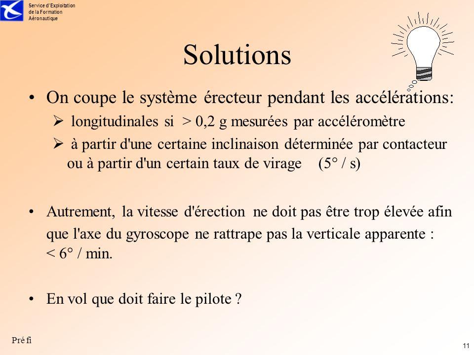 Solutions On coupe le système érecteur pendant les accélérations: