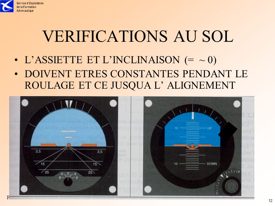 VERIFICATIONS AU SOL L'ASSIETTE ET L'INCLINAISON (= ~ 0)