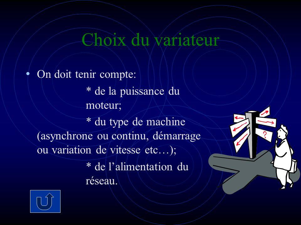 Choix du variateur On doit tenir compte: * de la puissance du moteur;