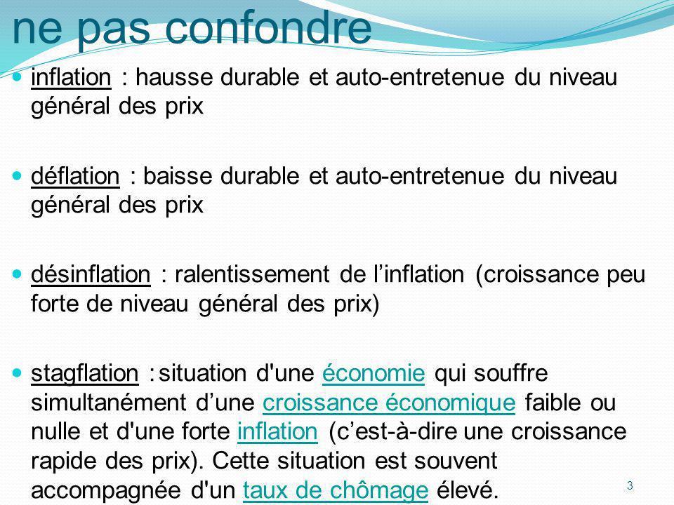 ne pas confondreinflation : hausse durable et auto-entretenue du niveau général des prix.