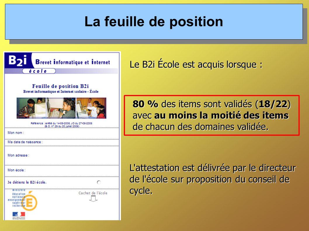 La feuille de position Le B2i École est acquis lorsque :