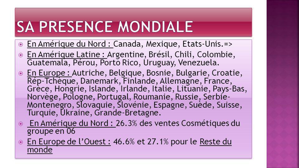 SA PRESENCE MONDIALE En Amérique du Nord : Canada, Mexique, Etats-Unis.=>