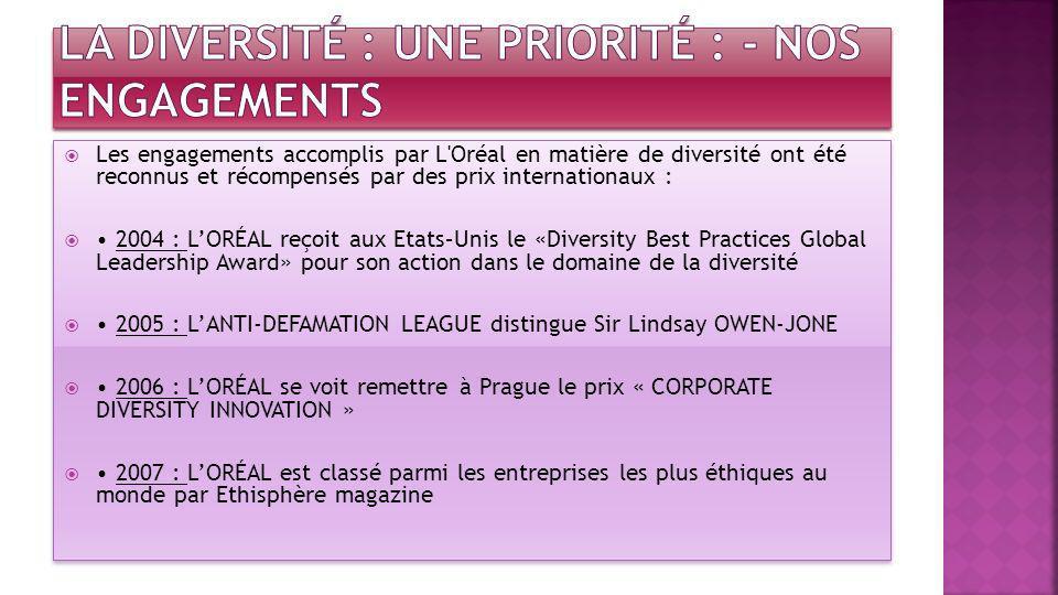 la diversité : Une priorité : - Nos engagements