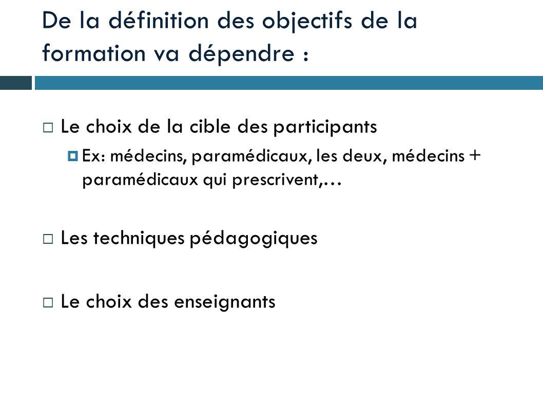 De la définition des objectifs de la formation va dépendre :