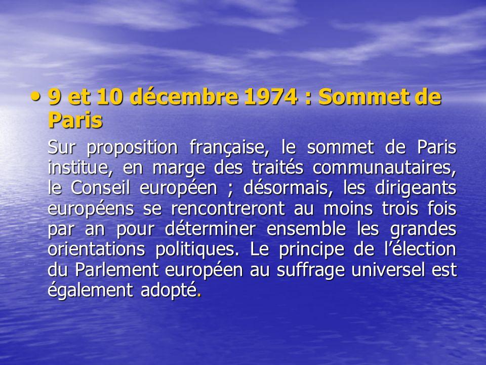 9 et 10 décembre 1974 : Sommet de Paris