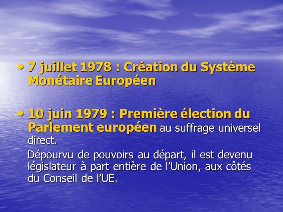 7 juillet 1978 : Création du Système Monétaire Européen