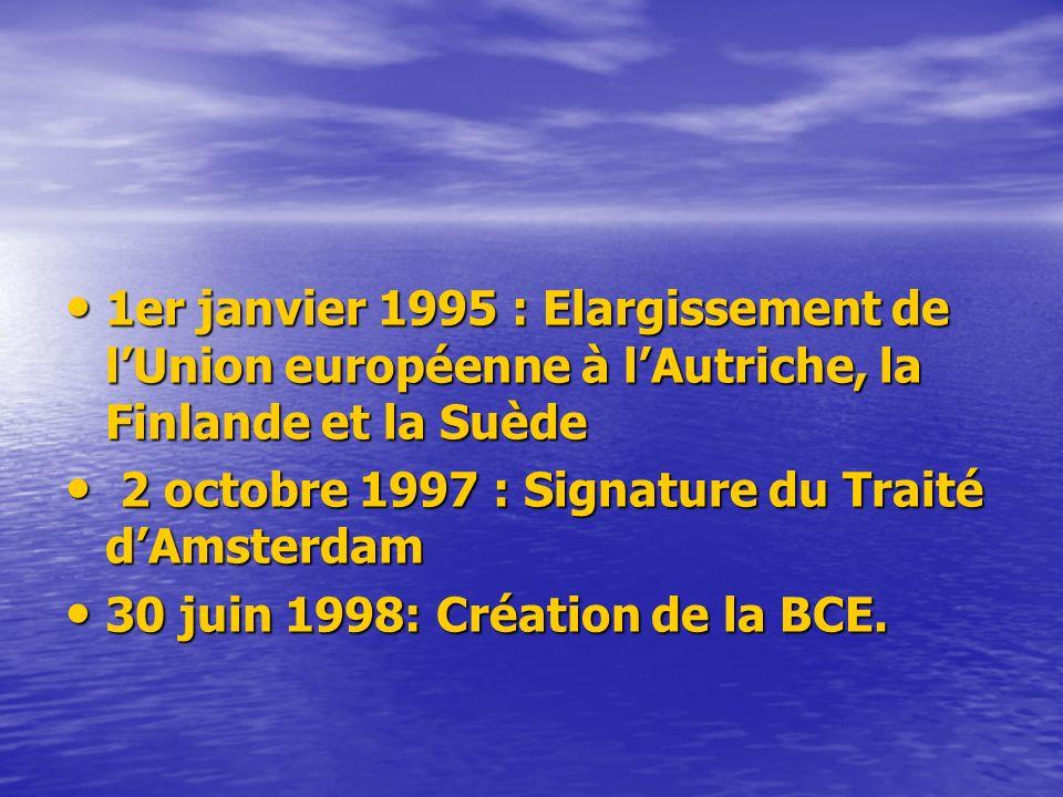 1er janvier 1995 : Elargissement de l'Union européenne à l'Autriche, la Finlande et la Suède