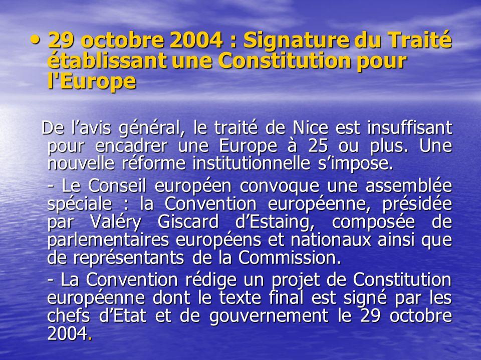 29 octobre 2004 : Signature du Traité établissant une Constitution pour l Europe