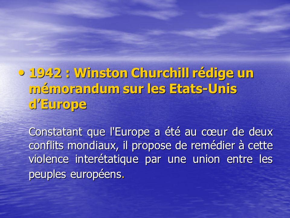 1942 : Winston Churchill rédige un mémorandum sur les Etats-Unis d'Europe