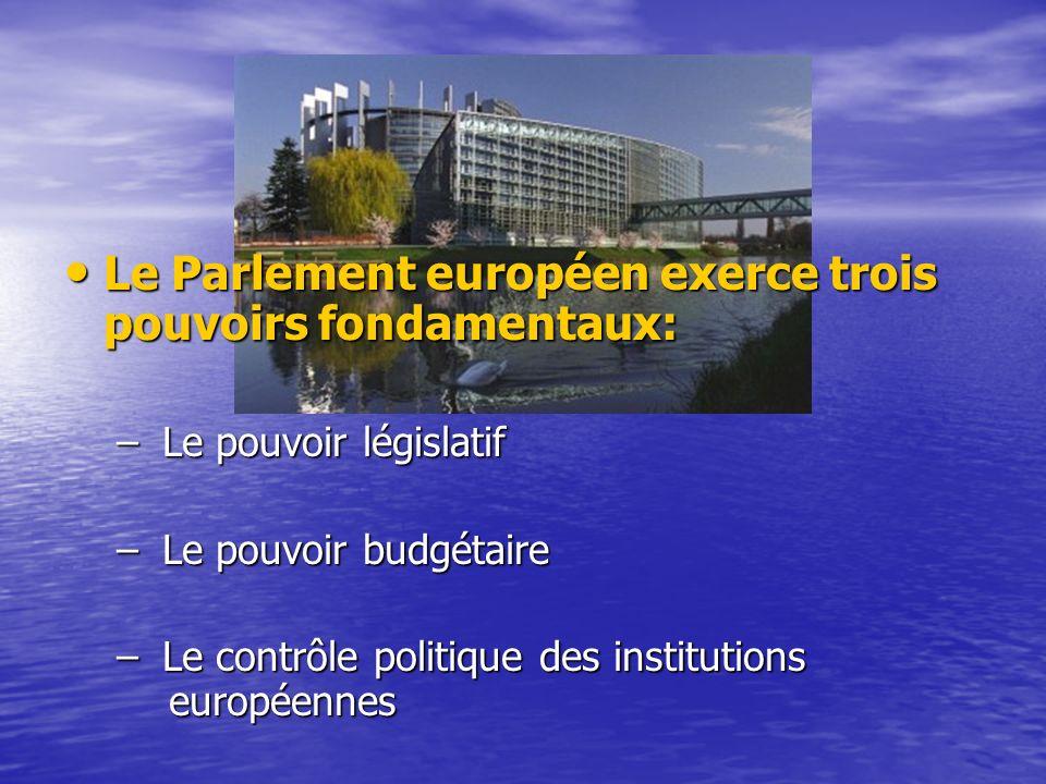 Le Parlement européen exerce trois pouvoirs fondamentaux: