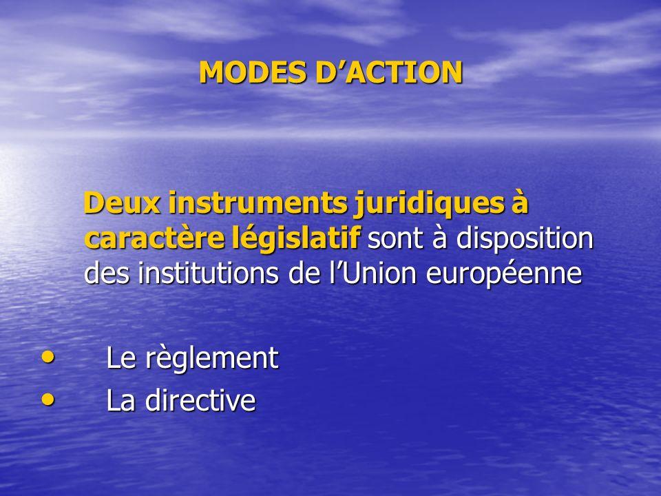 MODES D'ACTION Deux instruments juridiques à caractère législatif sont à disposition des institutions de l'Union européenne.