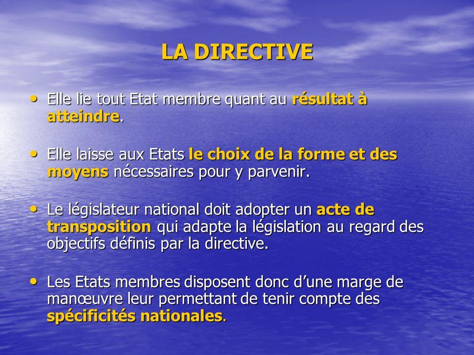 LA DIRECTIVE Elle lie tout Etat membre quant au résultat à atteindre.