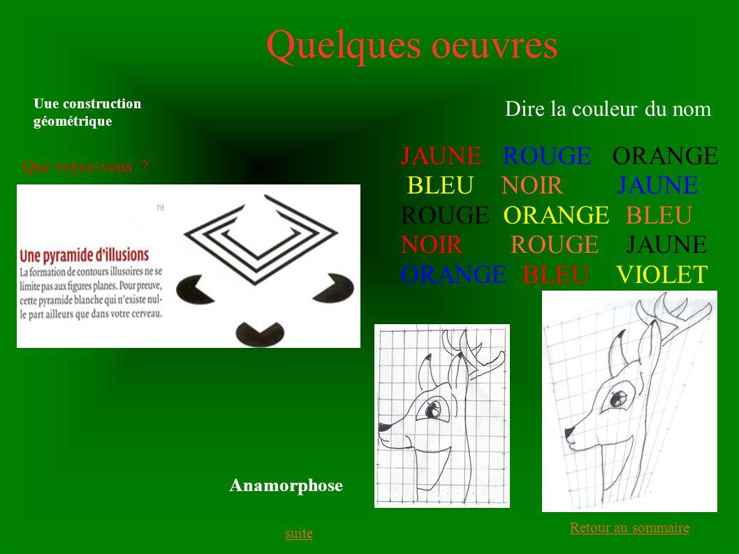 Quelques oeuvres JAUNE ROUGE ORANGE BLEU NOIR JAUNE ROUGE ORANGE BLEU