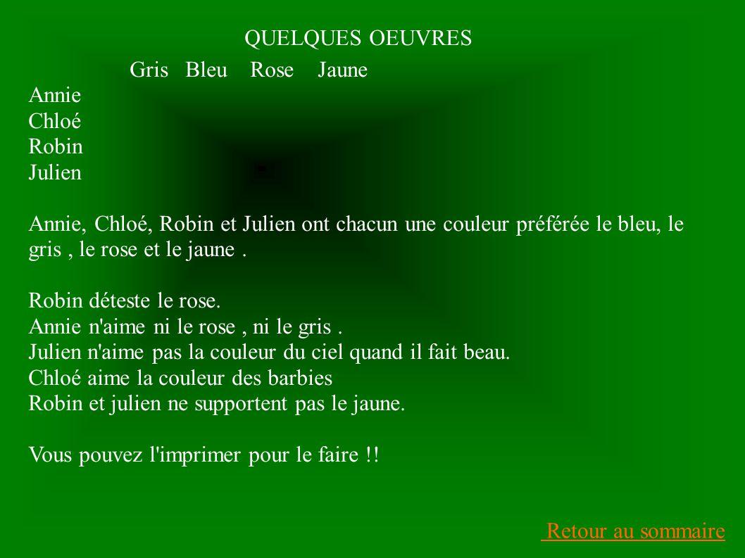 QUELQUES OEUVRES Gris Bleu Rose Jaune. Annie. Chloé. Robin. Julien.